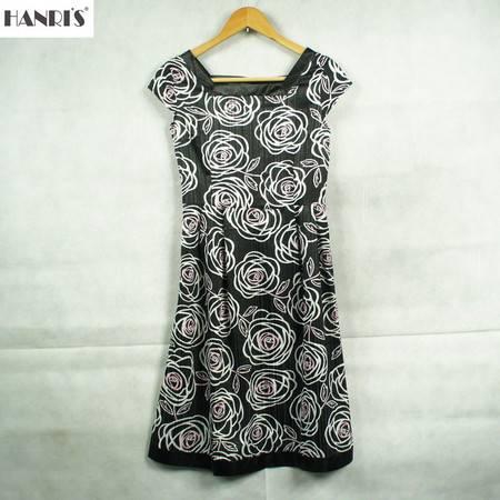 HANRI'S/瀚瑞新款短袖a摆连衣裙修身淑女夏装方领印花拼接女装HR连衣裙