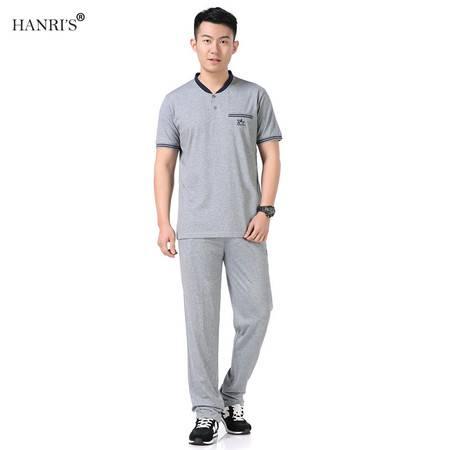 瀚瑞(hanris)男士运动卫衣套装男跑步服高V领休闲运动服套装长裤两件套LJ528