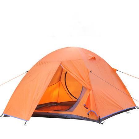 洋湖轩榭 铝杆帐篷2至4人 双层防雨防蚊网纱帐篷 户外野营露营装备送防潮垫