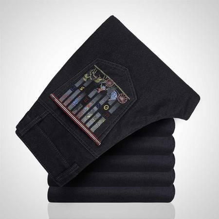 汤河之家 牛仔裤男修身直筒裤韩版时尚重工针织男裤商务风牛仔裤 CEK0065A1