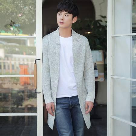 汤河之家 韩版日系新品长款开衫男外套立领混色针织衫男修身学生毛衣潮披风 18511