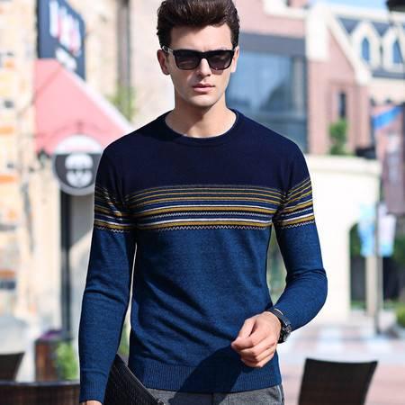 汤河之家新款纯羊毛衫男装青年休闲长袖针织衫套头圆领毛衣男拼色