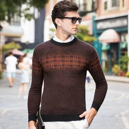 汤河之家新款纯羊毛衫男提花套头圆领毛衣男装商务男士针织衫休闲