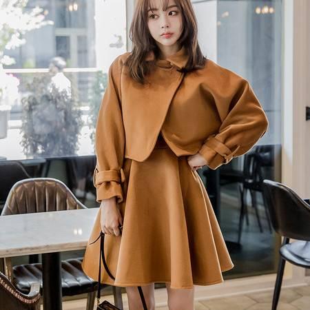 洋湖轩榭新款韩版长袖两件套连衣裙纯色A字裙