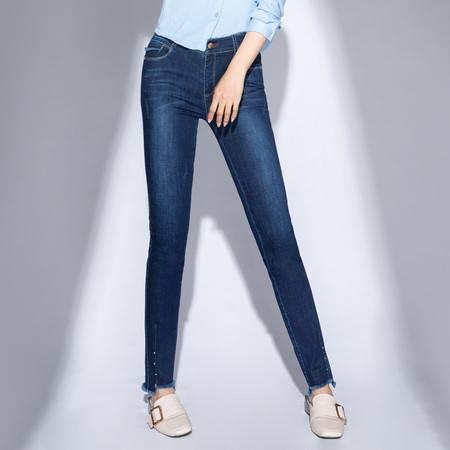洋湖轩榭2018年春季新款高弹女式牛仔裤女士长裤中腰深色高品质女裤