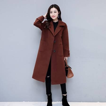 施悦名欧美2018秋冬新款女装毛呢外套女中长款韩版大码宽松羊毛呢子大衣