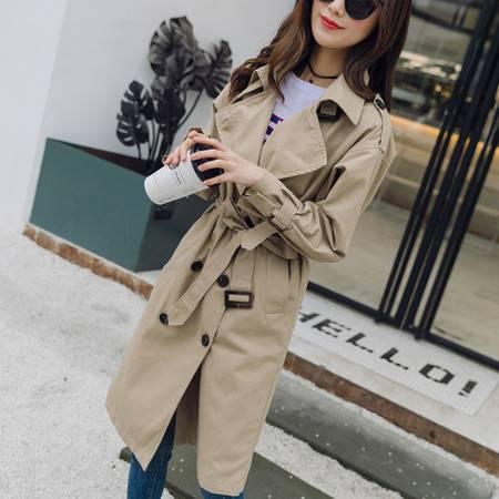 施悦名2018秋季新款中长款双排扣长袖修身时尚纯绵风衣女装外套