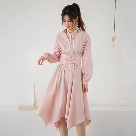 施悦名秋装连衣裙女2018新款韩版长袖收腰修身时尚V领中长款不规则裙摆图片