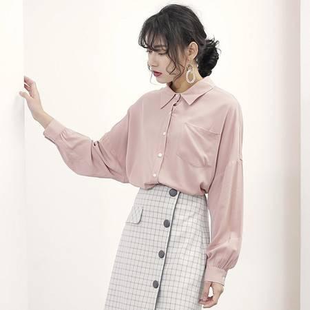 施悦名衬衣女2018年秋季韩版新款气质宽松显瘦翻领开衫长袖衬衫女上衣