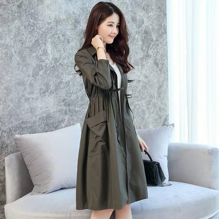 施悦名风衣女中长款韩版新款秋季女装收腰外衣端庄气质外套潮