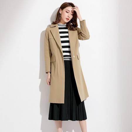 施悦名2018秋季新款精品女装英伦纯色西装领长袖女式风衣中长款外套女