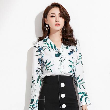 施悦名2018秋季新款品牌女装气质通勤开衫上衣翻领长袖印花衬衫女
