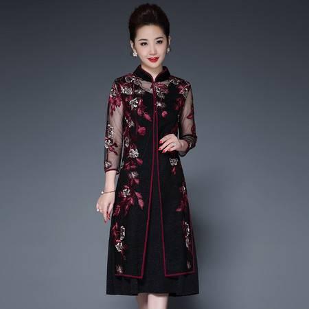 洋湖轩榭中年妈妈装2019春季新款中国风改良旗袍款气质两件套女装连衣裙女