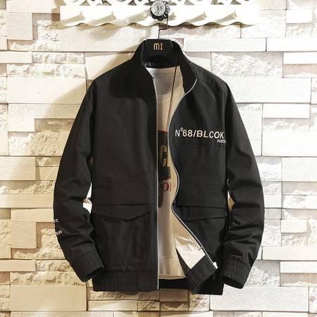 汤河之家 2019新款韩版夹克男 春季青少年街头大码立领外套双口袋潮流男装