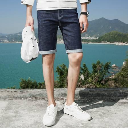 汤河之家 夏季新款男士牛仔短裤休闲薄款五分裤时尚男式牛仔裤直筒中裤