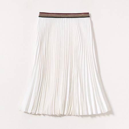 施悦名 2019年夏腰部链条珠链拼接撞色松紧百褶裙 高腰显瘦真丝半身裙A