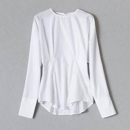 施悦名 秋新款高织棉小圆领修身显瘦白色衬衣时尚百搭收腰韩版衬衫女上衣A