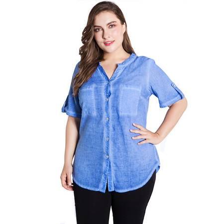 施悦名  欧美大码女装2019夏装新款短袖水洗棉V领衬衫衬衣A