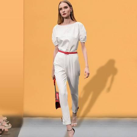 施悦名 2019春季新款休闲时尚上衣白色衬衫修身直筒长裤配腰带套装女A