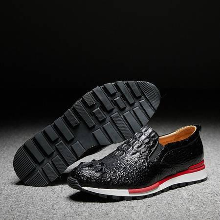 小童马 新款真鳄鱼皮男士运动鞋黑色跑鞋
