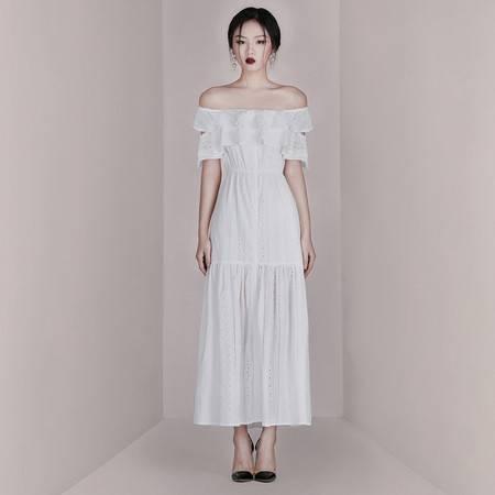 施悦名 2019夏季新款时尚欧美性感女装一字肩收腰显瘦短袖a字礼服连衣裙A