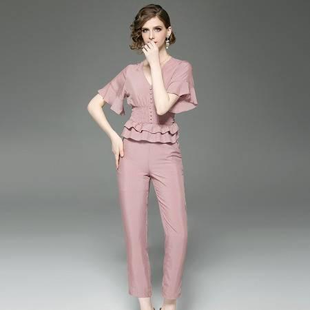 施悦名 夏装两件套 V领压褶收腰荷叶袖小上衣女+高腰铅笔九分裤套装A