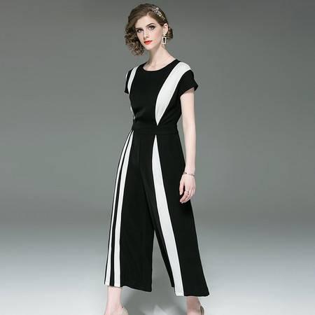 施悦名 夏装女 OL职业气质女装黑白撞色高腰修身连体裤直筒阔腿裤A