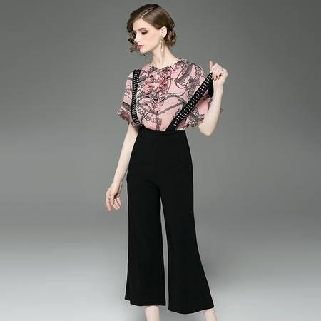 施悦名 夏时尚休闲套装女 荷叶边印花小上衣+哈伦背带九分裤两件套A