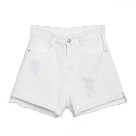 施悦名  夏季新款三色高腰破洞收腰显瘦百搭舒适牛仔短裤女A