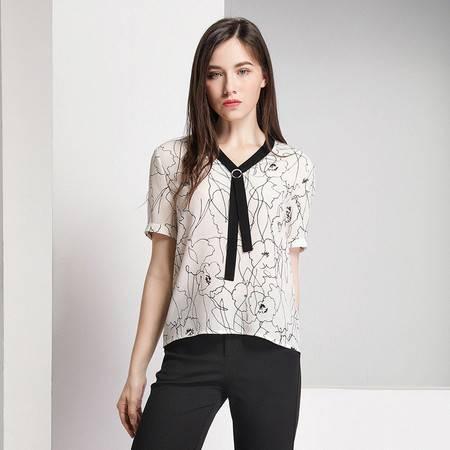 施悦名 真丝衬衫女短袖2019夏季新款衬衣V领套头桑蚕丝上衣A
