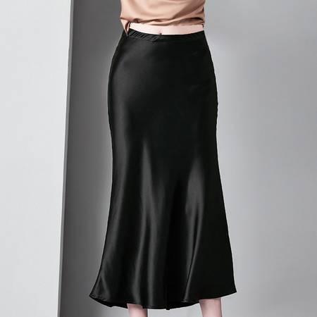 施悦名 欧洲站名媛时尚女装醋酸半身裙中长款百搭高腰修身包臀裙A