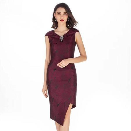 施悦名 2019夏季新款女装 欧美时尚拼接修身显瘦不规则中长款连衣裙A