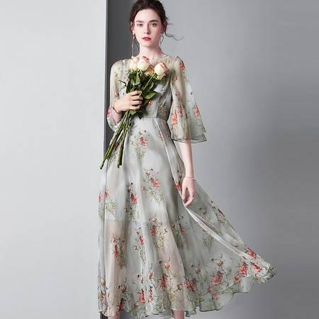 施悦名 气质修身印花连衣裙中长款圆领喇叭袖飘逸大摆裙子A