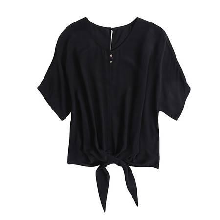 施悦名 欧美女装圆领短袖净色真丝T恤女蝙蝠袖宽松桑蚕丝上衣A