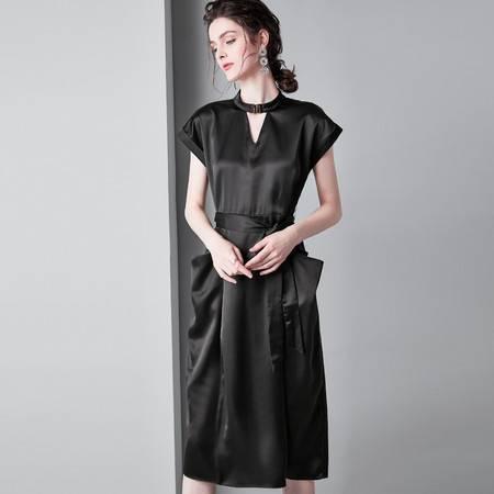 施悦名 欧美时尚女装2019夏装气质修身显瘦绑带中长款醋酸连衣裙A