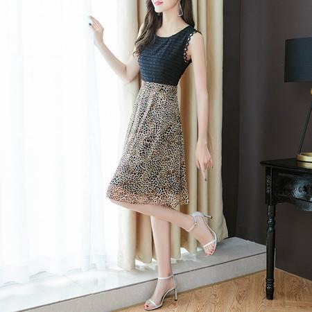 施悦名 法国复古裙黑色豹纹拼接a字裙时尚收腰无袖雪纺连衣裙女A