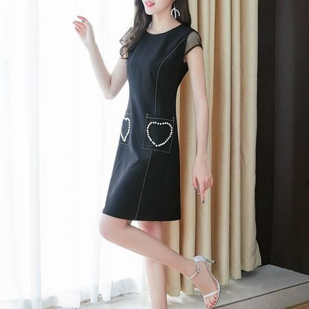 施悦名 黑色连衣裙女夏2019流行夏天裙子矮个子穿搭心机小黑裙法式桔梗裙A