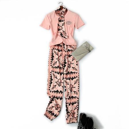 施悦名 2019夏季女装新款刺绣短袖T恤+复古印花束脚灯笼裤休闲套装A