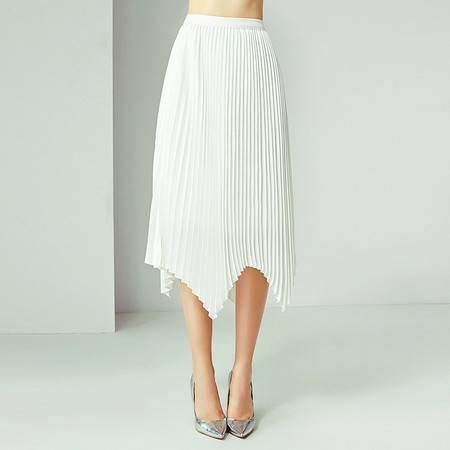 施悦名 2019欧美夏季女装新款收腰显瘦纯色不规则中长款百褶半裙女A