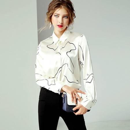 施悦名 2019欧美夏季女装新款气质白色真丝衬衫宽松显瘦上衣女A