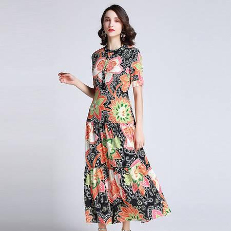 施悦名 女装2019夏季新款轻熟气质花朵印花圆领高腰大摆假两件连衣裙A