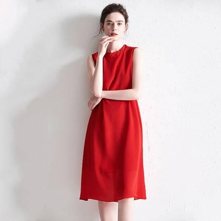 施悦名 2019欧美春夏季新款宽松时尚气质红色真丝无袖背心a字连衣裙A