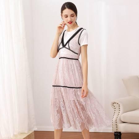 施悦名 女装2019夏季新品气质印花短袖圆领中长款连衣裙A