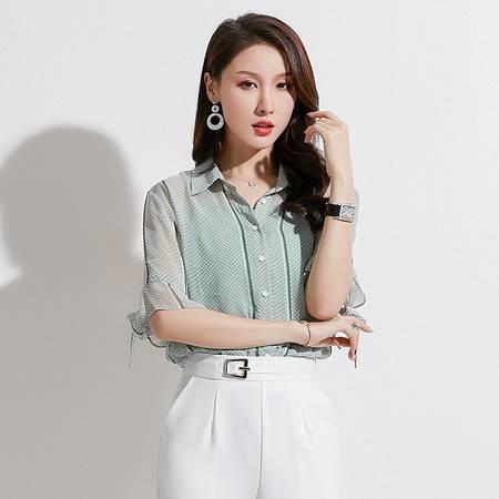 施悦名 2019夏季新款女装韩版时尚波点单排扣上衣翻领中袖雪纺衬衫女A