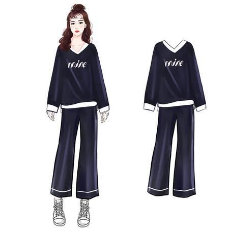 施悦名 春秋新款大码女装两件套时尚潮休闲运动洋气撞色拼接针织套装A
