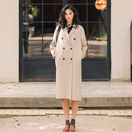 施悦名 2019秋冬新款经典韩版格子长款双排扣手工双面羊绒大衣毛呢外套女A