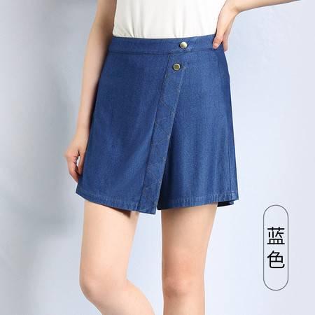 施悦名 夏季新款冰丝宽松高腰薄款假裙裤牛仔短裤女A