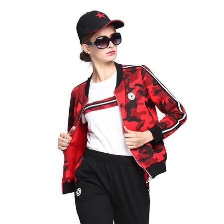 施悦名 秋季新款女式三件套卫衣迷彩运动套装女户外大码夹克衫女休闲裤A