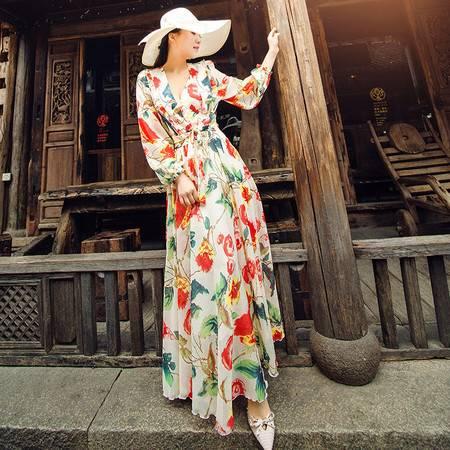 施悦名 裙子女春夏季2019新款雪纺连衣裙印花韩版大摆修身显瘦两件套长裙A