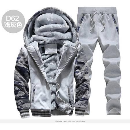 汤河之家 新款冬男装加厚加绒保暖卫衣套装迷彩运动服加大码5XL